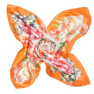 Silk Scarf Spring Flowers Orange