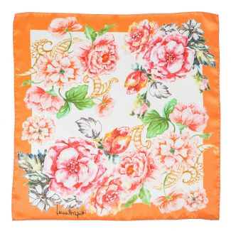 Esarfa matase Spring Flowers Orange