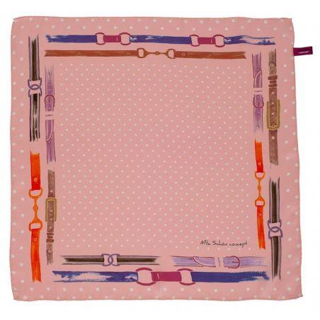 Cadou: Eşarfă pătrată Mila Schon curele roz şi fundiţă