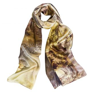Silk Shawl Mila Schon aquarela gray yellow