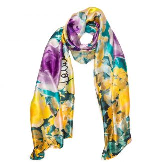 Silk Shawl Laura Biagiotti roses yellow