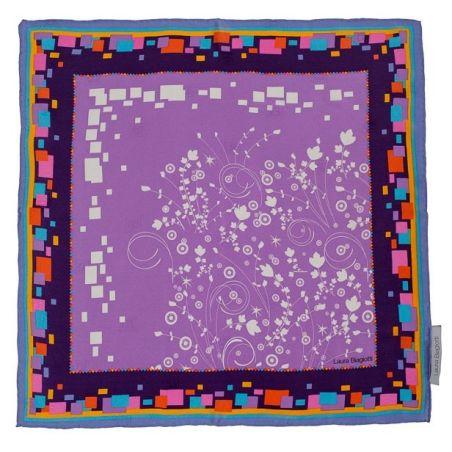 Cadou: Eşarfă pătrată L. Biagiotti floricele fond lila şi fundiţă