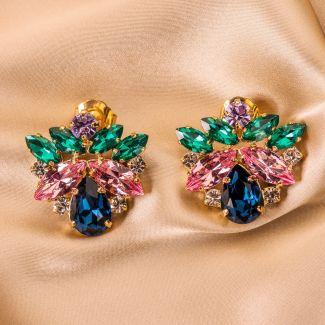 Earings D&D Firenze Flowers cristals saphirre