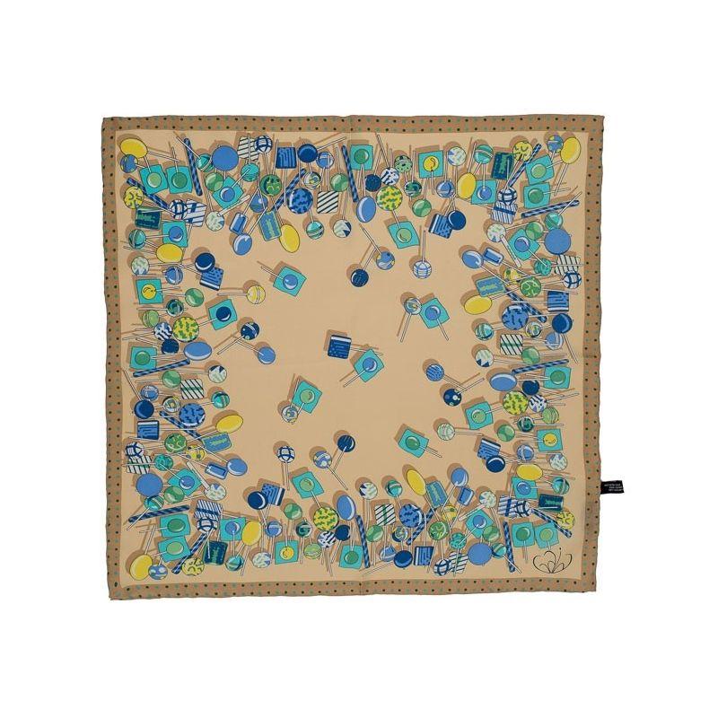 Eşarfă pătrată Gaia Lollypop albastru şi crem