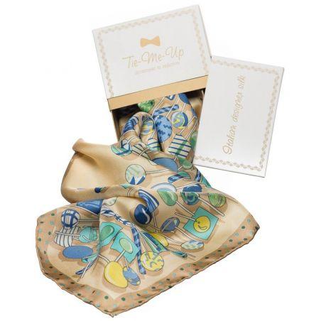 Cadou: Eşarfă mătase naturală print acadele albastru şi crem cu fundiţă