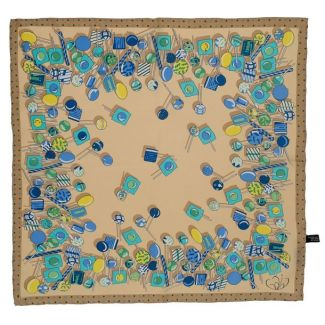 Gift: Blue and beige Gaia Lollypop Squared Scarf