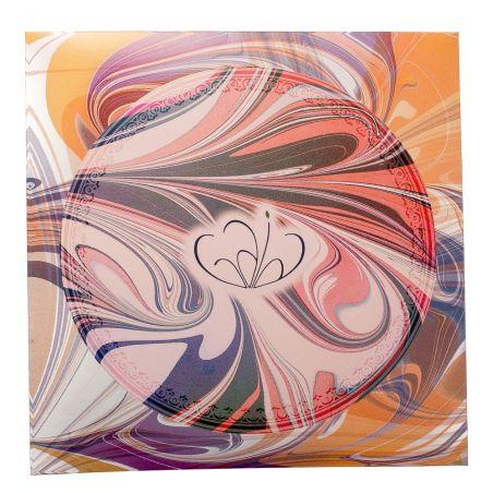 Cadou: Eşarfă pătrată Gaia Lollypop albastru cu bej şi fundiţă