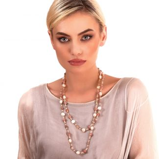 Necklace morganite, nude agates, pearls