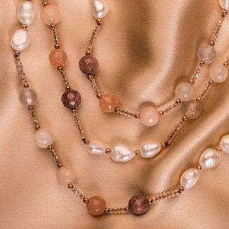 Necklace agate and cultured pearls