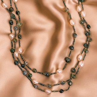 Colier lung agate dantela verde, perle