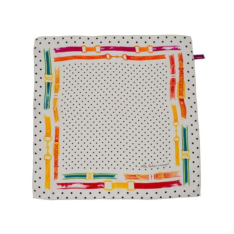 Eşarfă pătrată Mila Schon curele alb