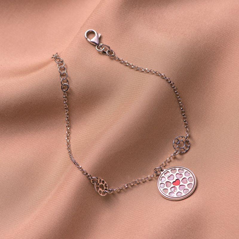 Sterling Silver Bracelet Red Heart