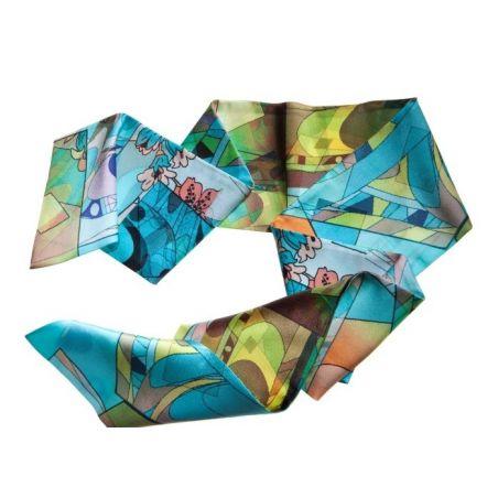 Eşarfă mătase naturală Blue Girl