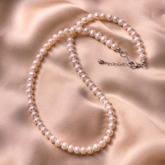 Sterling Silver Necklace Princess white pearls