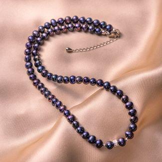 Sterling Silver Necklace black -indigo pearls