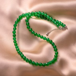 Colier argint jad verde fatetat