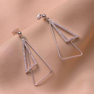 Cercei argint zirconia 2 triunghiuri