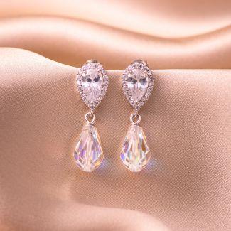 Sterling Silver Earrings Swarovski Drop Crystal