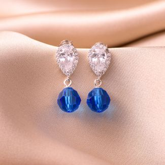 Sterling Silver Earrings Swarovski Capri Blue