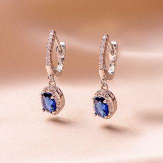 Cercei argint Sapphire Blue zirconia