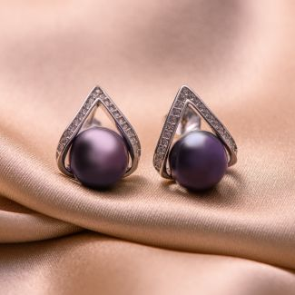 Sterling Silver Earrings black -indigo pearls