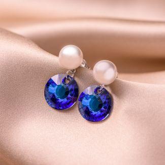 Sterling Silver Earrings Pearl Cristal Blue Swarovski