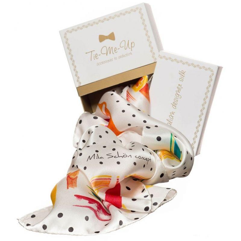 Gift: White straps Mila Schon Squared Scarf