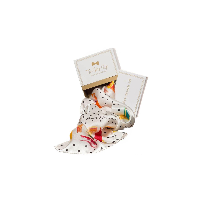 Cadou: Eşarfă pătrată Mila Schon curele alb şi fundiţă