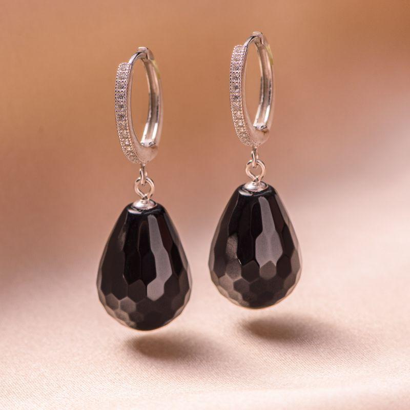 Sterling Silver Earrings New Look onyx droplets