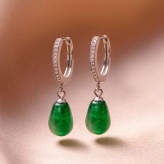 Cercei argint New Look jad verde picatura