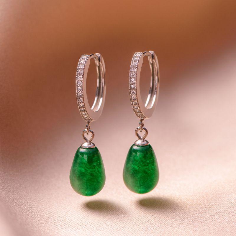 Sterling Silver Earrings New Look drop jade