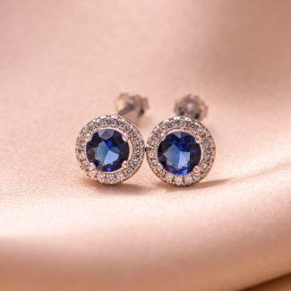Sterling Silver Earrings Minimal Blue zirconia