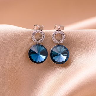Sterling Silver Earrings Lovely Blue Swarovski