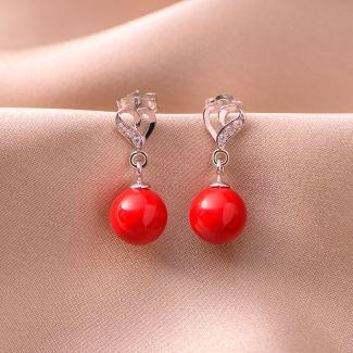 Sterling Silver Earrings Heart red shell