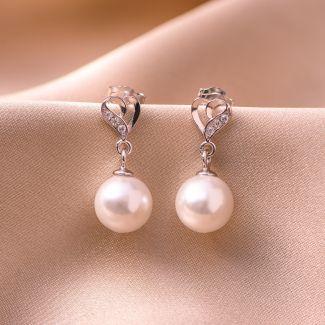 Sterling Silver Earrings Heart pearl white shell