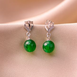 Sterling Silver Earrings Heart green jade