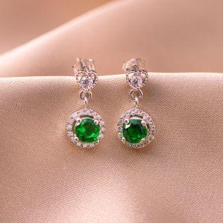 Sterling Silver Earrings Green Heart zirconia