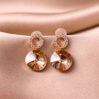 Sterling Silver Earrings Golden Shadow Swarovski