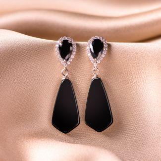 Sterling Silver Earrings Entourage onyx