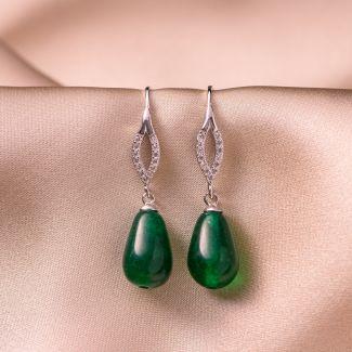 Cercei argint Elegant jad verde picatura