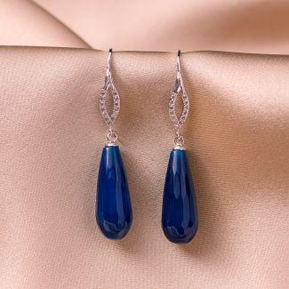 Cercei argint elegant agat Blue Notte