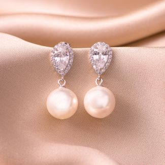 Sterling Silver Earrings Delight pearl shell zirconia