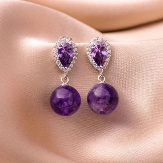 Sterling Silver Earrings Delight amethyst zirconia