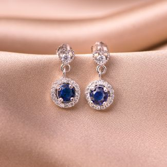 Sterling Silver Earrings Blue Heart zirconia