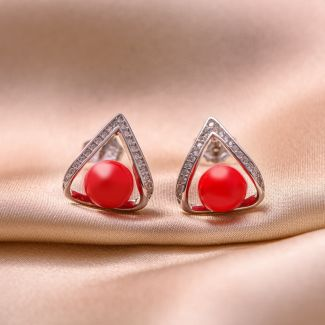 Sterling Silver Earrings Amore pearl red shell
