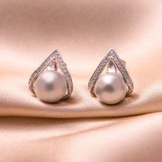 Sterling Silver Earrings Amore pearl grey shell