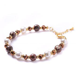 Bracelet rhyolite, shell pearls