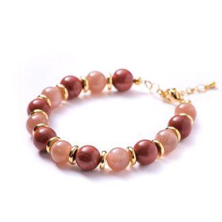 Bracelet sun stone, red jasper