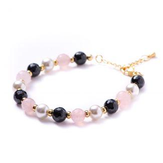 Bracelet onyx, pink quartz, white shell