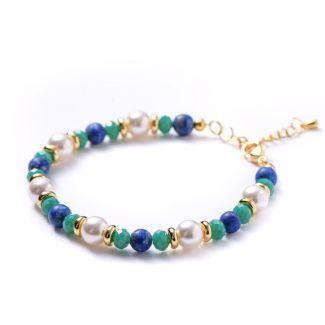 Bracelet lapis, turquoise crystal, white shell